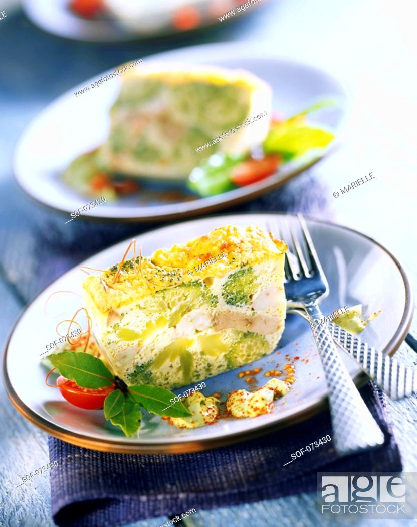 Stock Photo: dublin bay terrine, calf sweetbreads, broccoli and avocado cream.