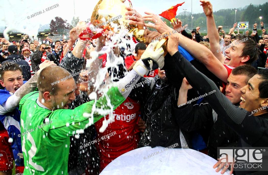 Stock Photo: FC Thun celebrating championship win at the swiss challenge league.