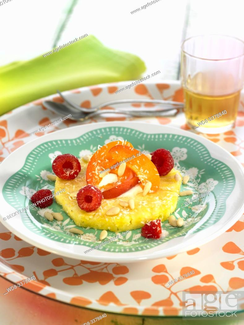 Stock Photo: pina con albaricoques y frambuesas / pineapple with apricots and raspberries.