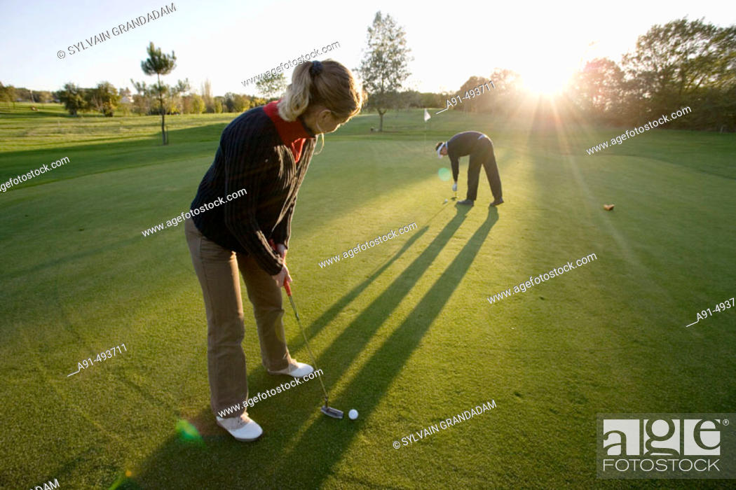 Stock Photo: Playing golf. Roche-Posay. Vienne (86). France.