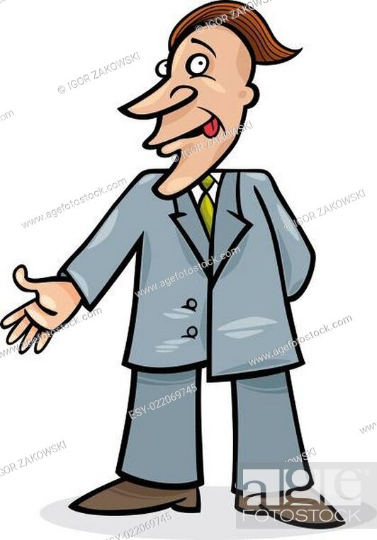 Stock Photo: cartoon man in suit.