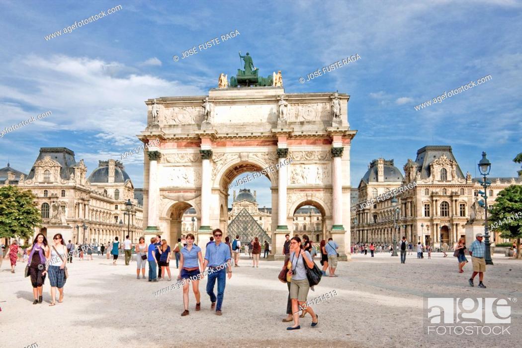 Stock Photo: France-August 2010 Paris City Carrousel Arc du Triumph and Louvre Museum.