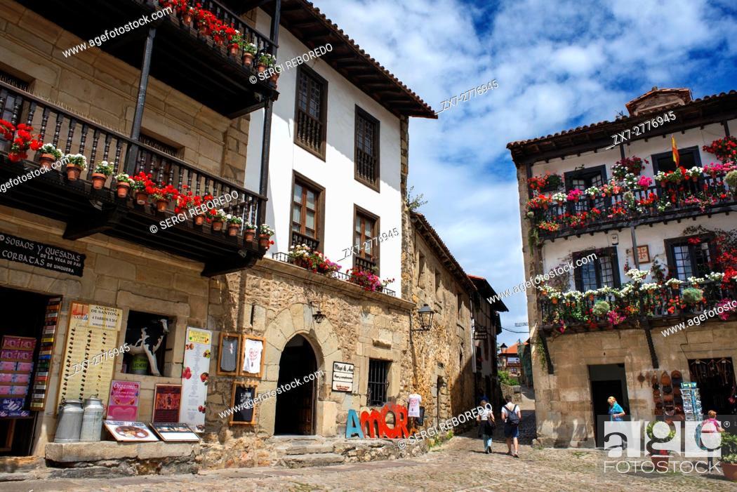 Stock Photo: Santillana Del Mar, Medieval Village in Cantabria, Spain. One of the stops of the Transcantabrico Gran Lujo luxury train.