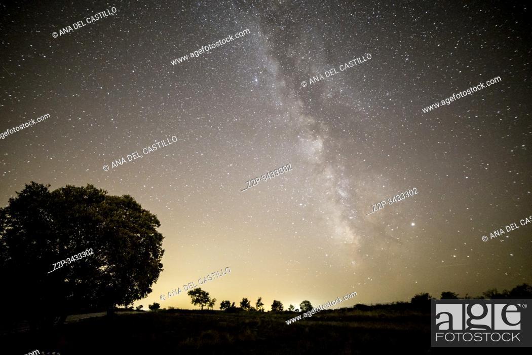 Stock Photo: Milky way starlight point in Valbona. Teruel, Aragon, Spain.