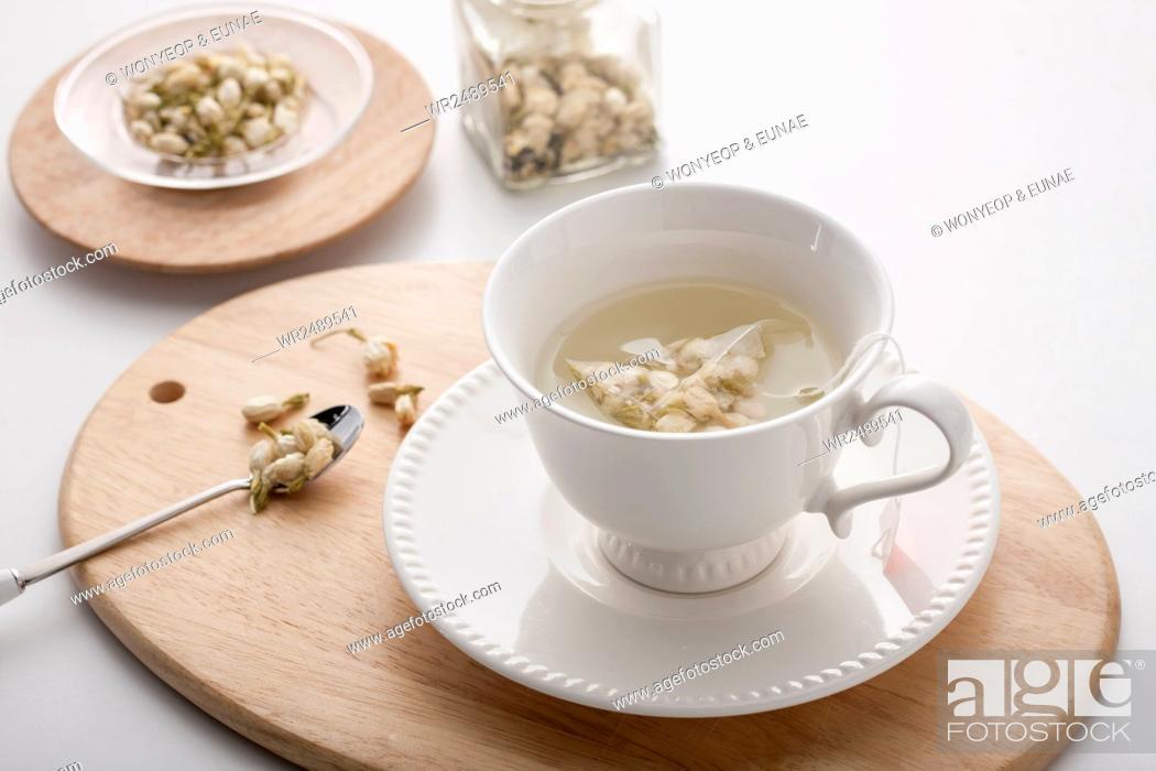 Stock Photo: Wellbeing Jasmine tea.