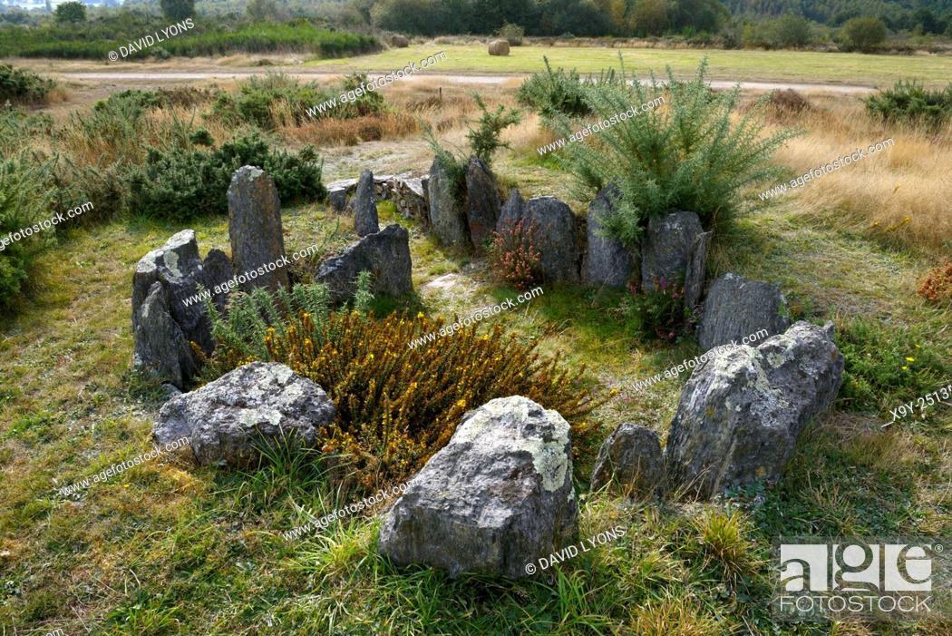 Stock Photo: Landes de Cojoux, Saint-Just, Brittany, France. The restored prehistoric barrow passage grave dolmen of Croix Saint Pierre south.
