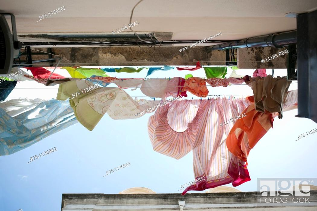 Stock Photo: Lisbon, Portugal, uptown, clothes hanging.