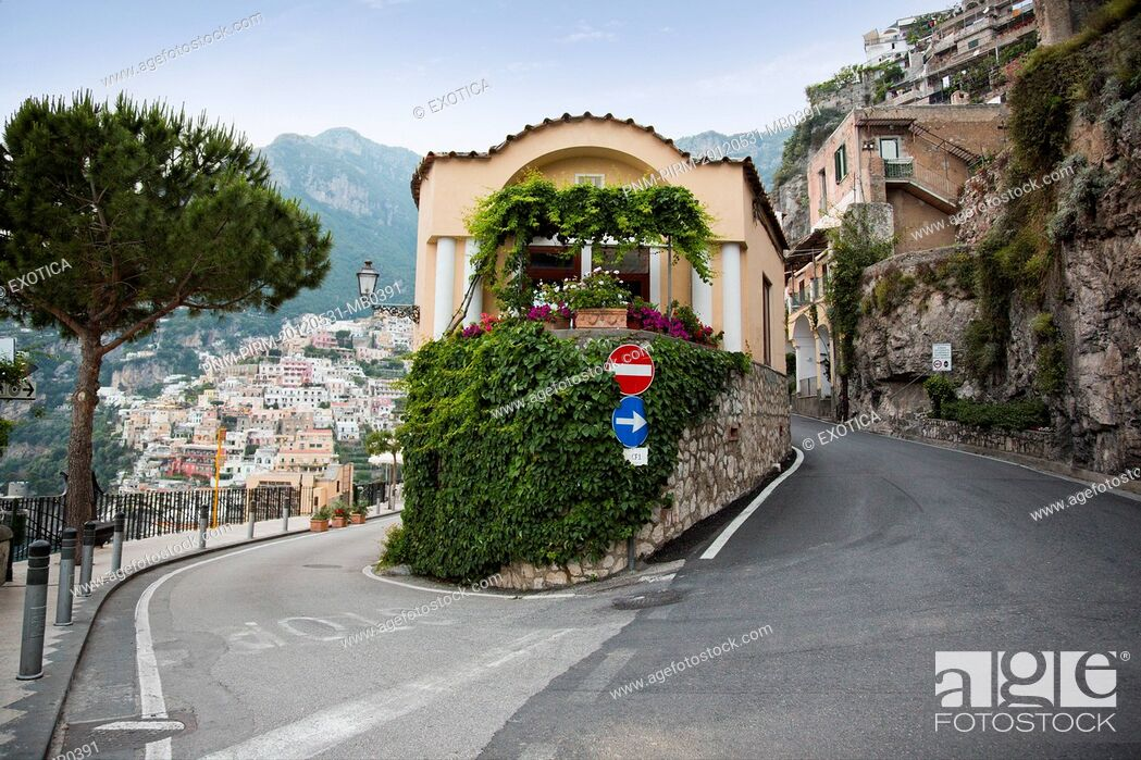 Stock Photo: Buildings in a town on a hill, Positano, Amalfi Coast, Province of Salerno, Campania, Italy.