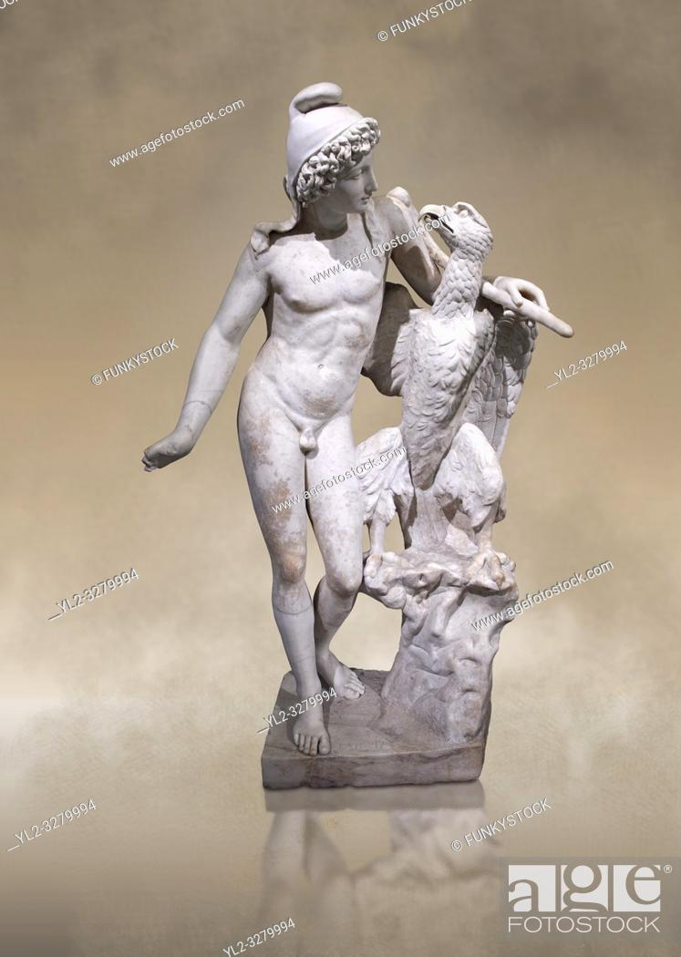 Stock Photo: Roman marble sculpture of Ganymede with an eagle, a 2nd century AD copy from an original 2nd century BC late Hellanistic Greek original, inv 6405.