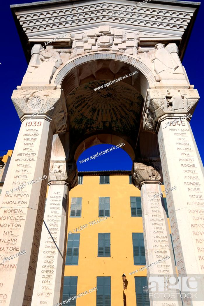 Stock Photo: Monument aux morts, Grasse, Prealpes d'Azur, 06, Alpes-Maritimes, Cote d'azur, PACA, .