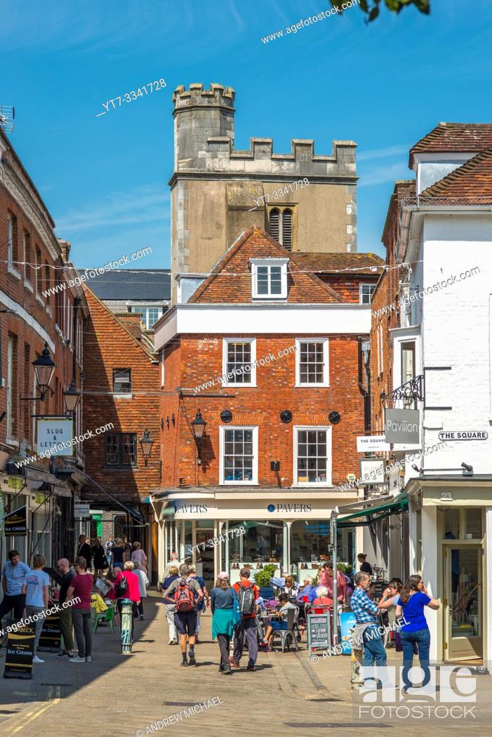 Stock Photo: Views from Great Minster street to the square leading the Winchester High St. Hampshire, England, UK.