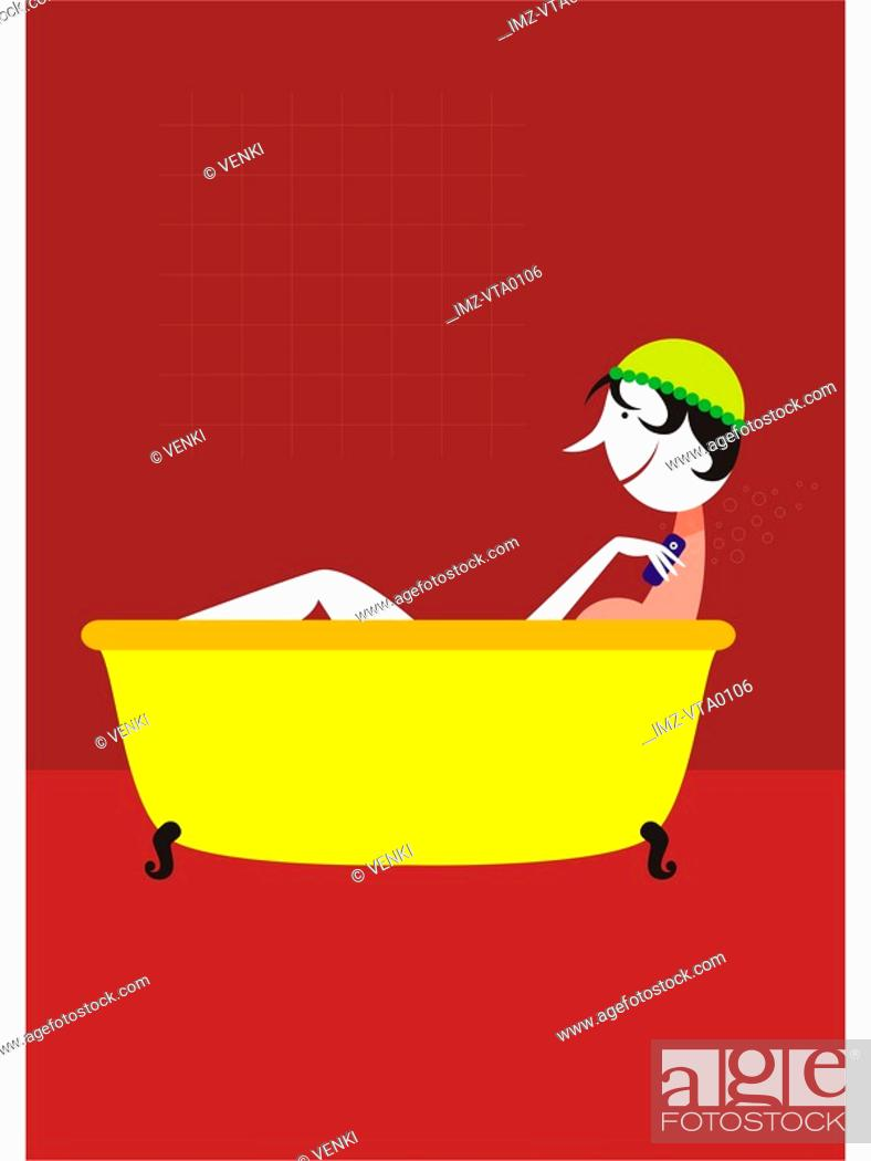 Stock Photo: A woman in the bath using soap shaped like a cell phone.