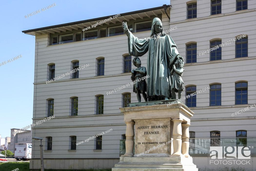 Stock Photo: 02 June 2021, Saxony-Anhalt, Halle: Monument to August Hermann Francke (1663 - 1727), founder of the Francke Foundations in Halle.