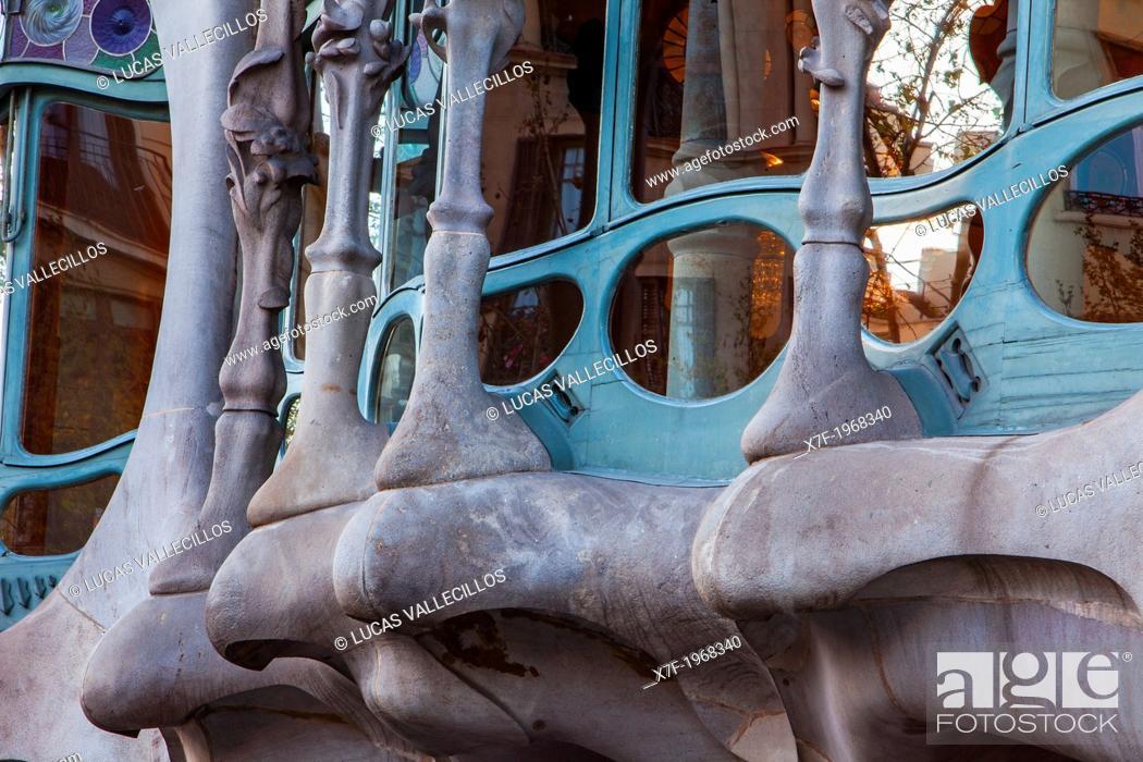 Stock Photo: Casa Batllo (Batllo House) by Antonio Gaudi, Barcelona, Spain.