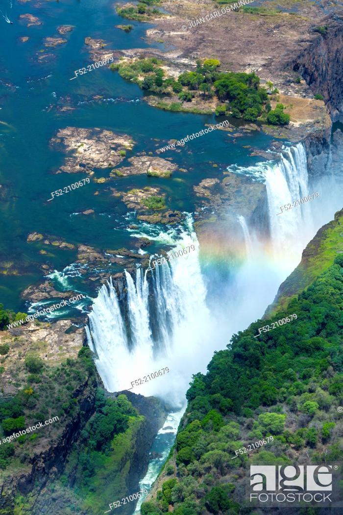Zambezi River Victoria Falls Or Mosi Oa Tunya Zambia And