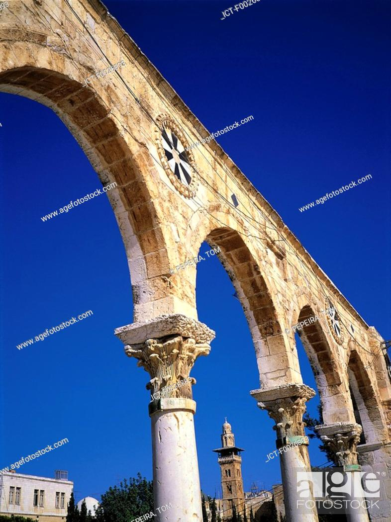 Stock Photo: Israel, Jerusalem, arches of the Dome of the Rock.