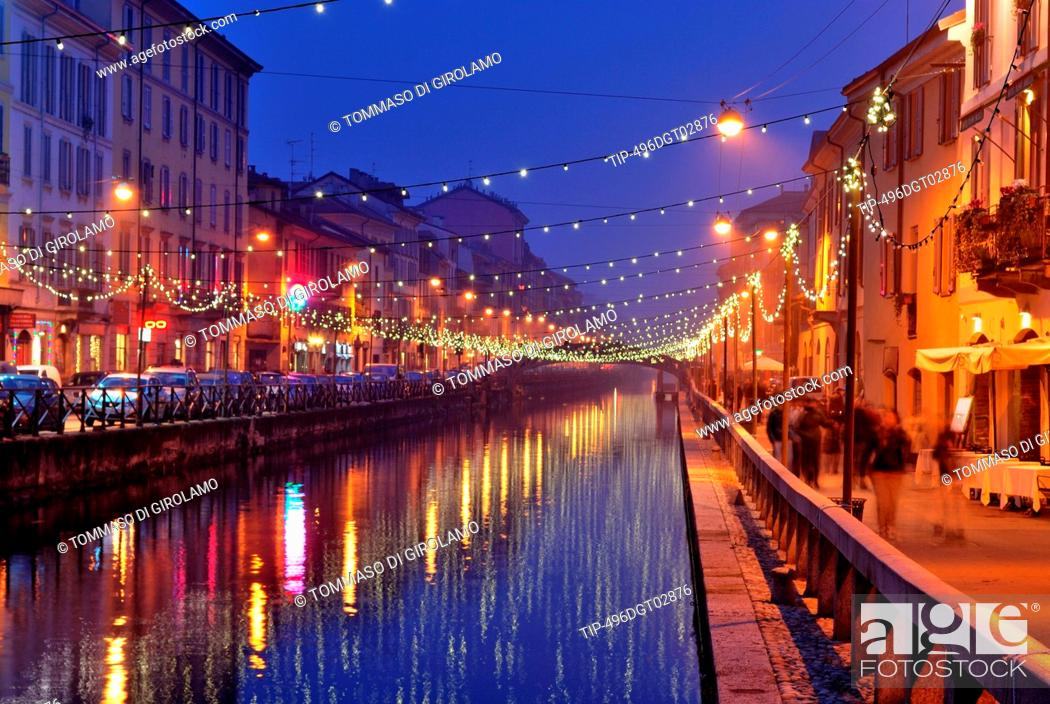 Stock Photo: Italy, Lombardy, Milan, the Naviglio with Christmas lights.