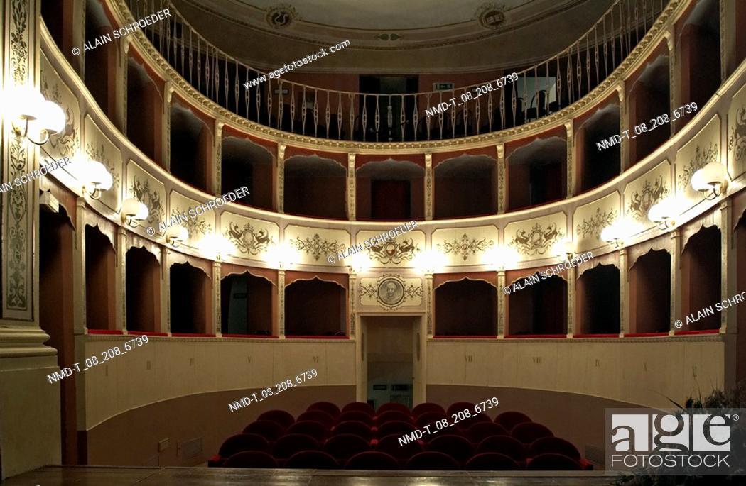 Stock Photo: Interiors of a theatre, Panicale, Umbria, Italy.