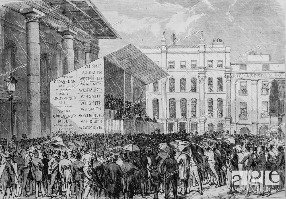 Photo de stock: parliamentary election in london, the illustrious universe, publisher michel levy 1868.