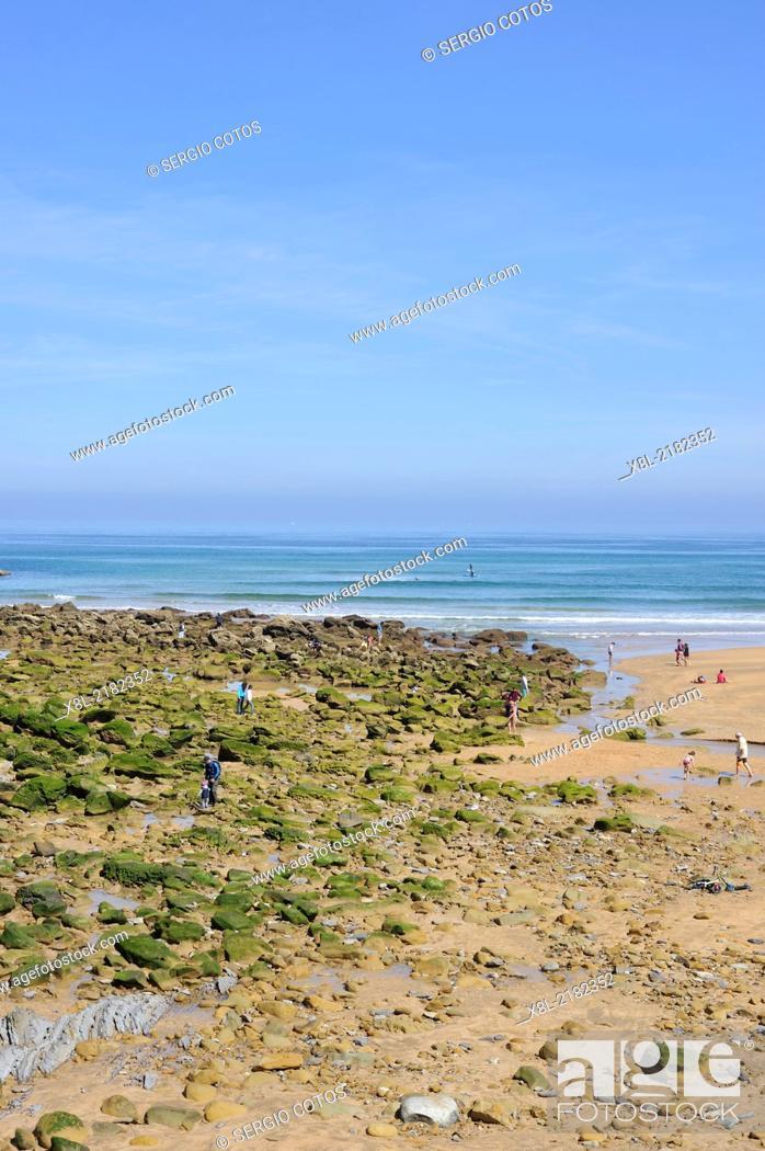 Stock Photo: Zarauz beach low tide, Basque Country, Spain.