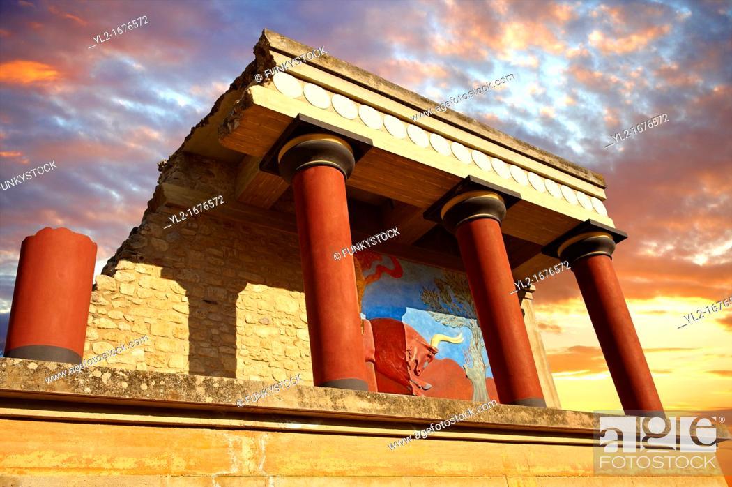 Stock Photo: Arthur Evans reconstruction of the Nouth Propylaeum Knossos Minoan archaeological site, Crete.