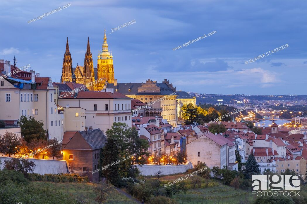 Stock Photo: Evening at Hradcany in Prague, Czechia.
