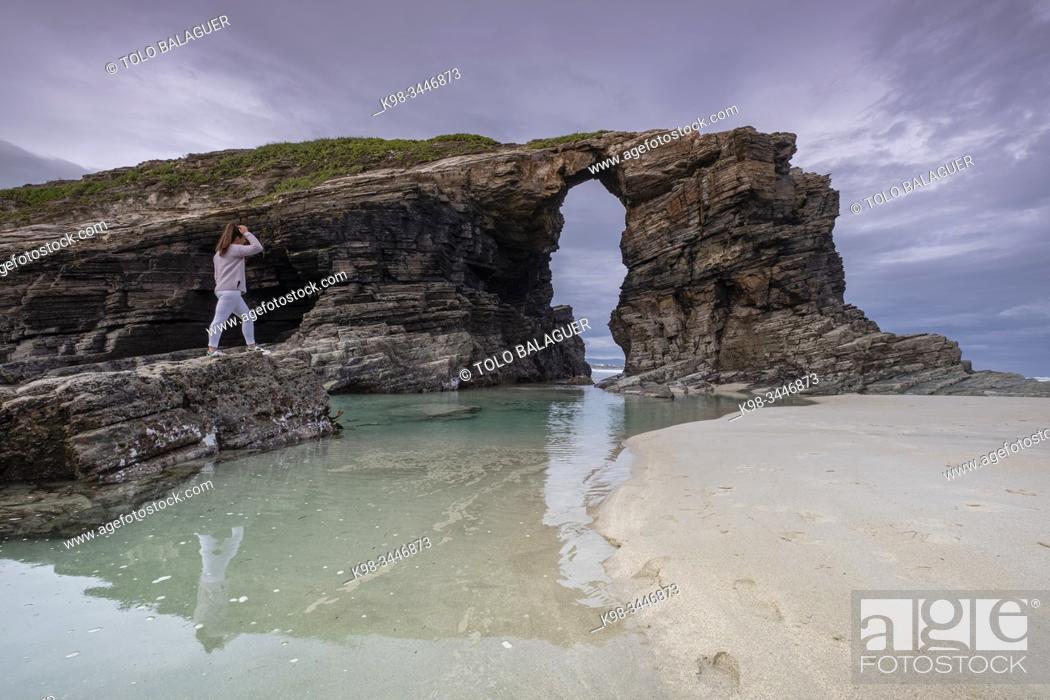 Stock Photo: playa de Las Catedrales, Ribadeo, Lugo, Galicia, Spain.