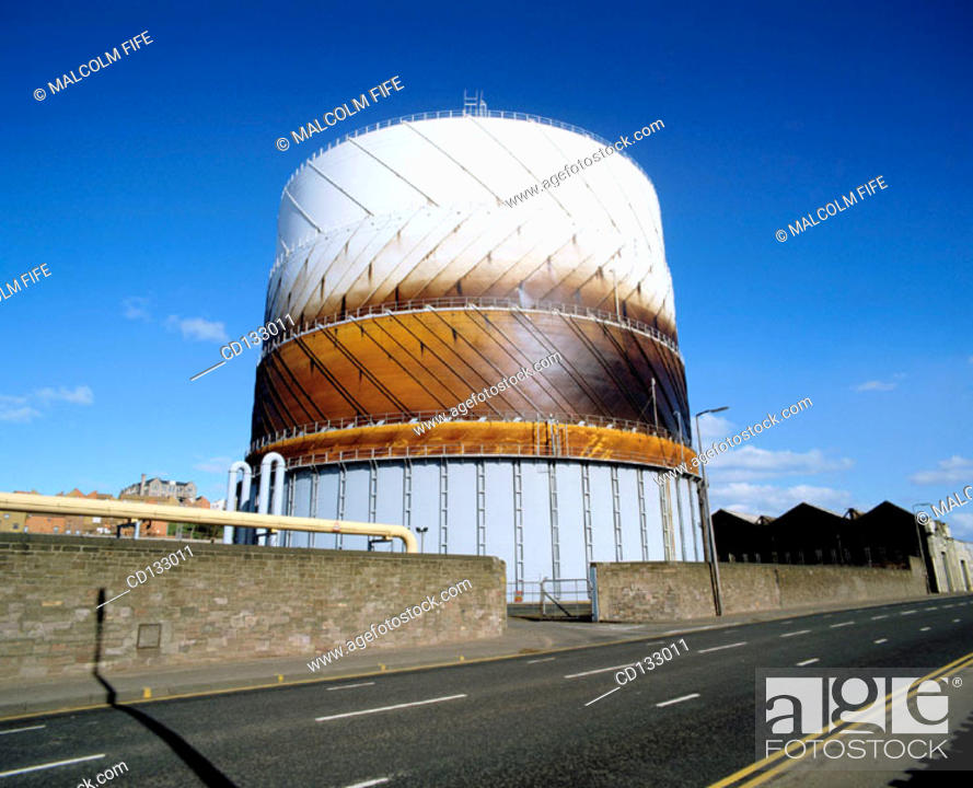Stock Photo: Gas storage tank for domestic supplies. Dundee. Scotland.