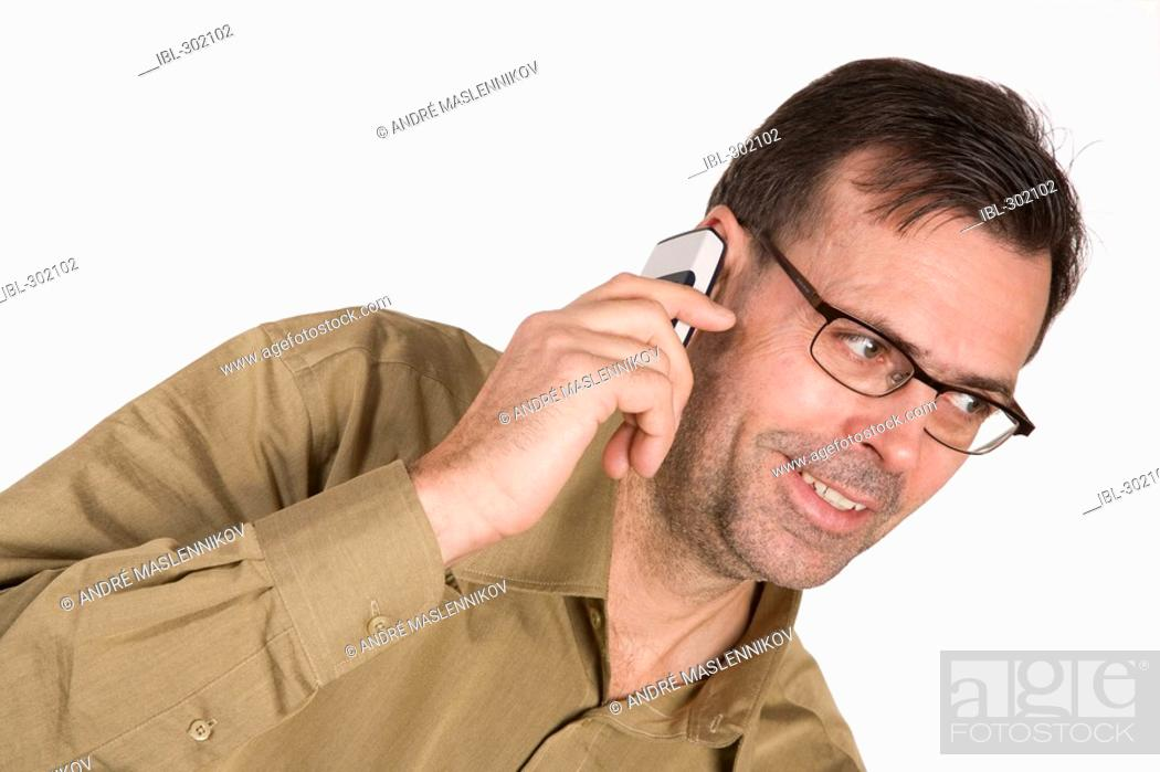 Stock Photo: Man with telephone.