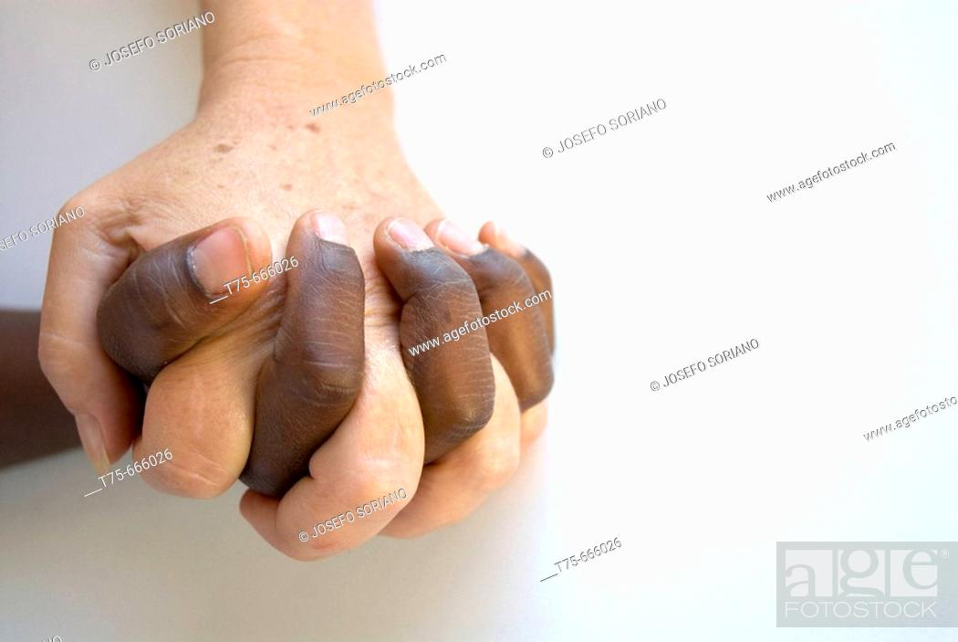 Stock Photo: Hands clasped.