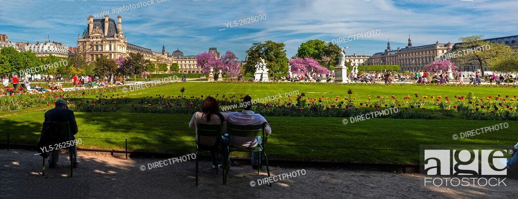 Stock Photo: Paris, France, Panoramic Scenic View on Lawn in Tuileries Garden, Jardin des Tuileries, Near Louvre Museum.