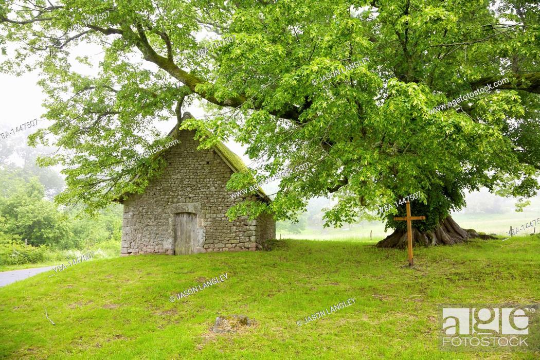 Stock Photo: Chapelle du Mas St  Jean, Near Saint-Sulpice-le-Dunois on a foggy spring morning  Creuse, Limousin, France.