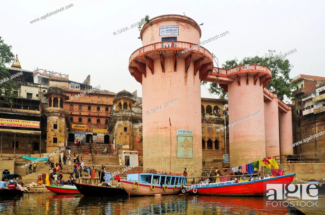 Stock Photo: Ghats of Varanasi, Benares, Uttar Pradesh, India, Asia.