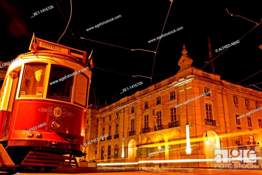 Stock Photo: tram, Commerce Square, Lisbon, Portugal.