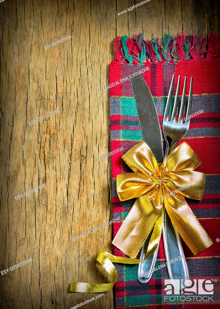 Stock Photo: Christmas Decoration Over Wooden Background. Decorations over Wood. Vintage.