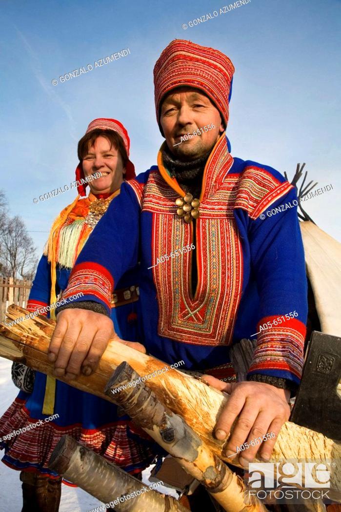 Stock Photo: Sami (lapp) people. Sami experience in Boazo Sámi Siida. Alta. Finnmark. Lapland. Norway.