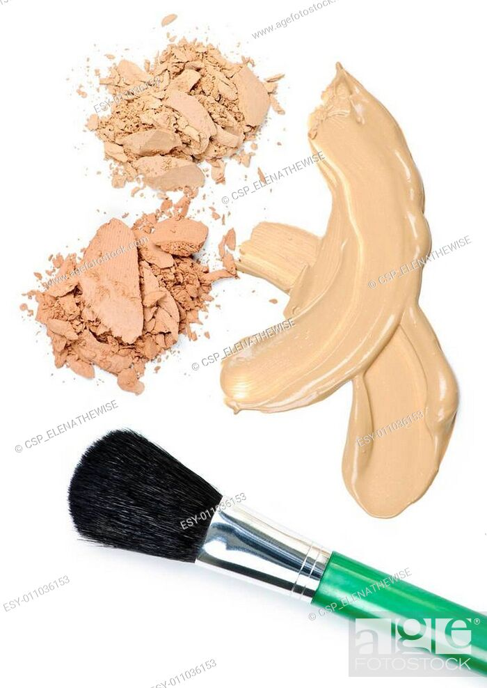 Stock Photo: Powder and foundation makeup with brush.