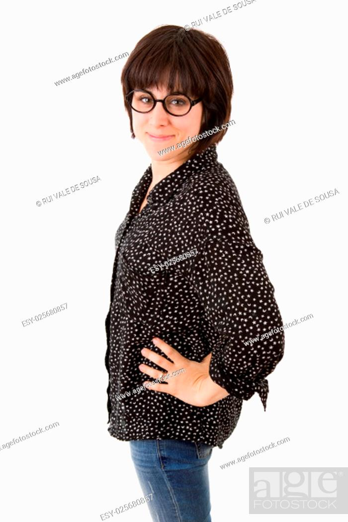Stock Photo: young casual beautiful woman, isolated in white.