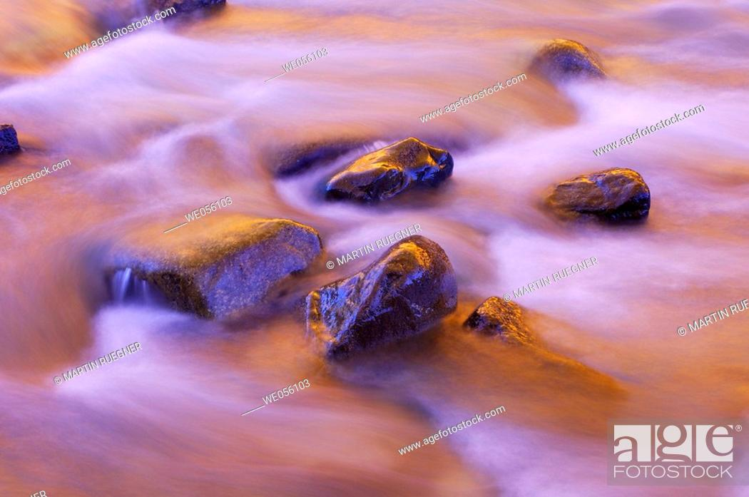 Stock Photo: Colours of autumn trees are reflecting in brook. Roseg valley, Engadine, Grisons, Switzerland, Europe.