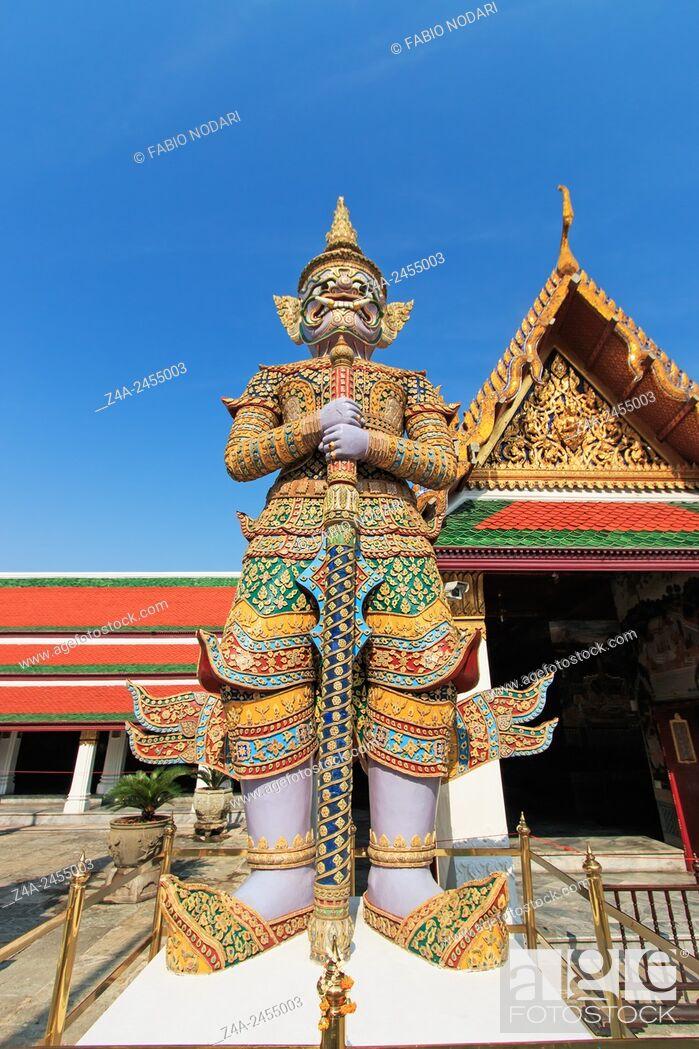 Stock Photo: Demon Guardian Wat Phra Kaew Grand Palace Bangkok.