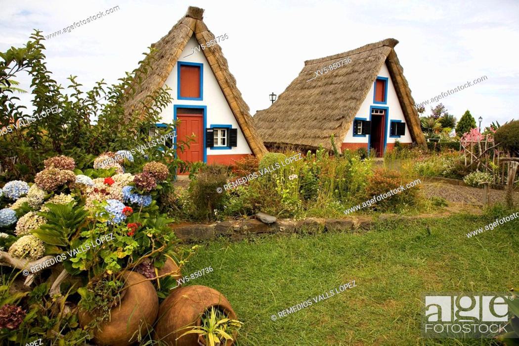 Stock Photo: Portugal, Madeira Islands Santana Palheiros: typical straw roof houses.