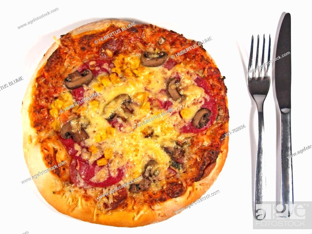 Stock Photo: Pizza with knife and fork.