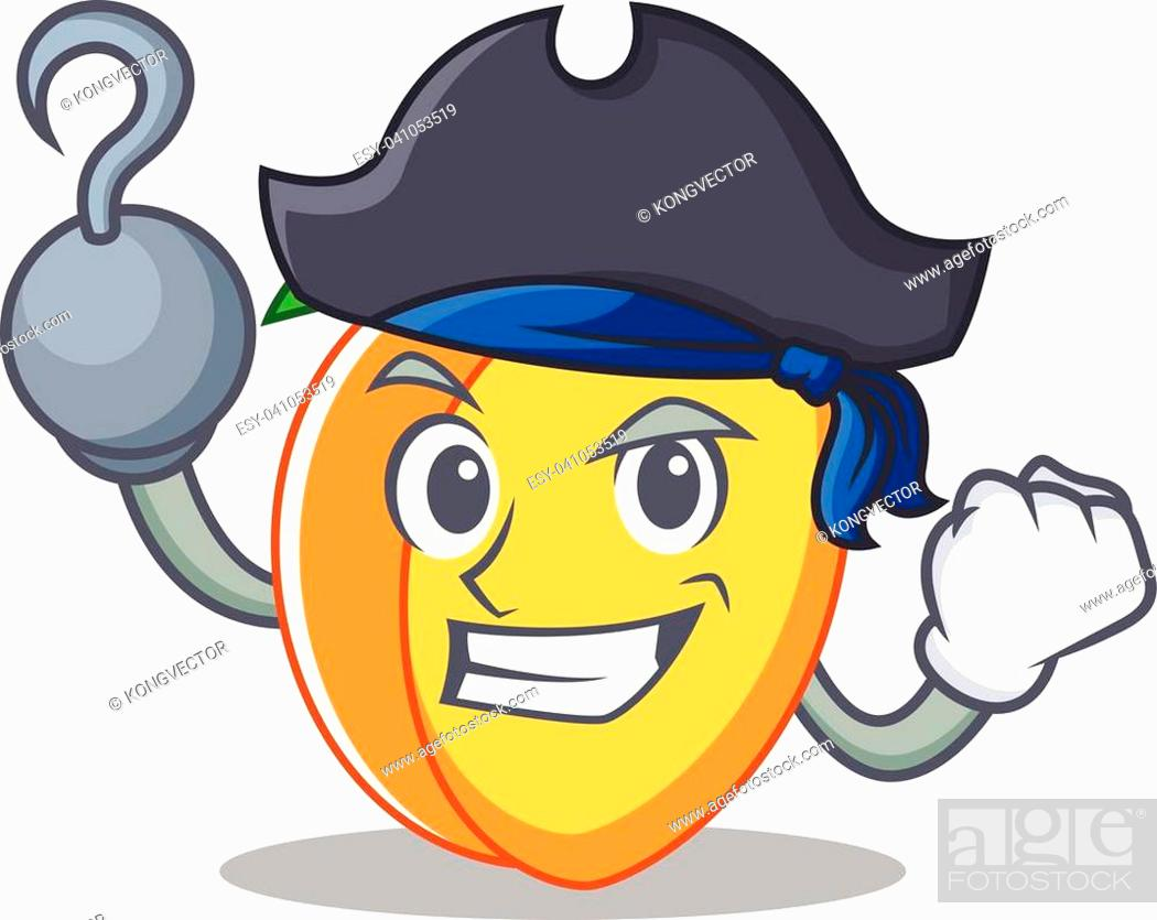 Stock Vector: Pirate apricot character cartoon style vector illustration.