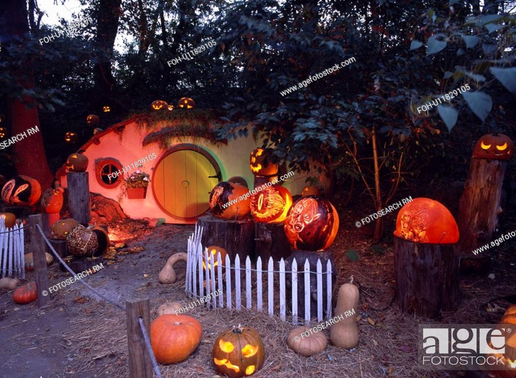 Stock Photo: Halloween pumpkins in USA.