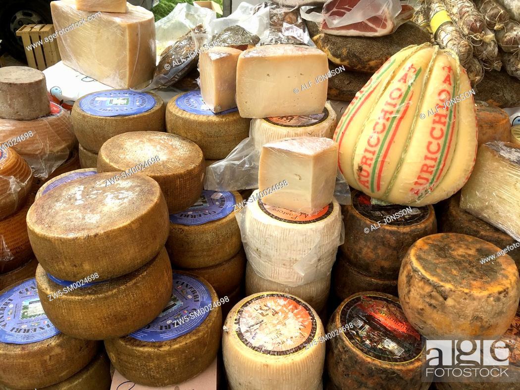 Stock Photo: Different cheese in market in Alghero, Sardinia, Italy.