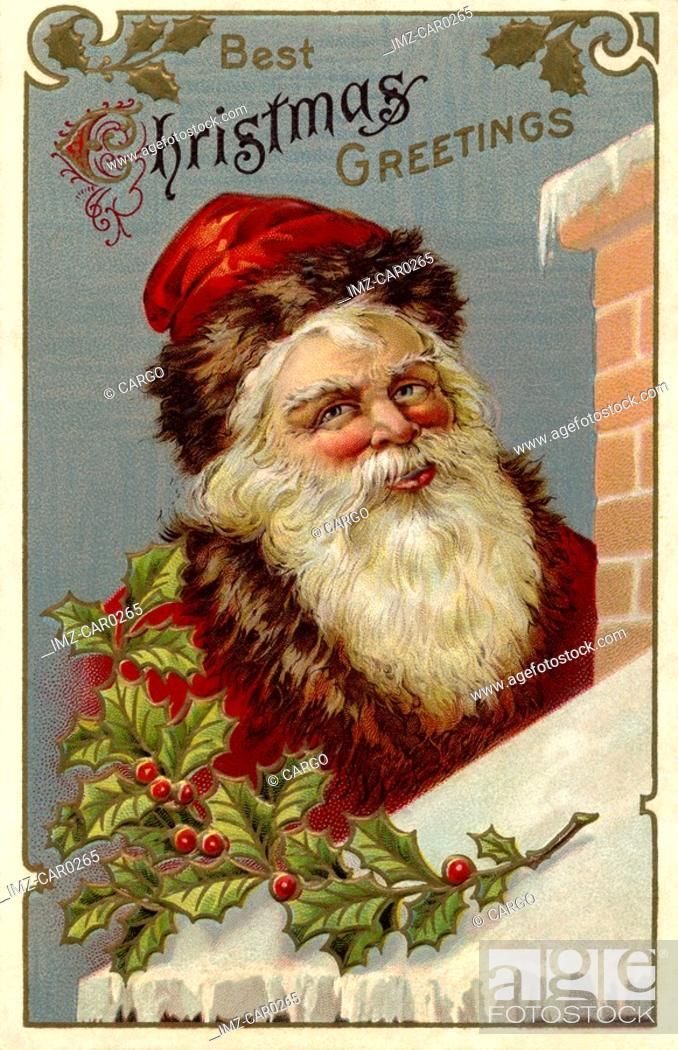 Stock Photo: Vintage Christmas postcard of Santa Claus climbing the roof of a house.
