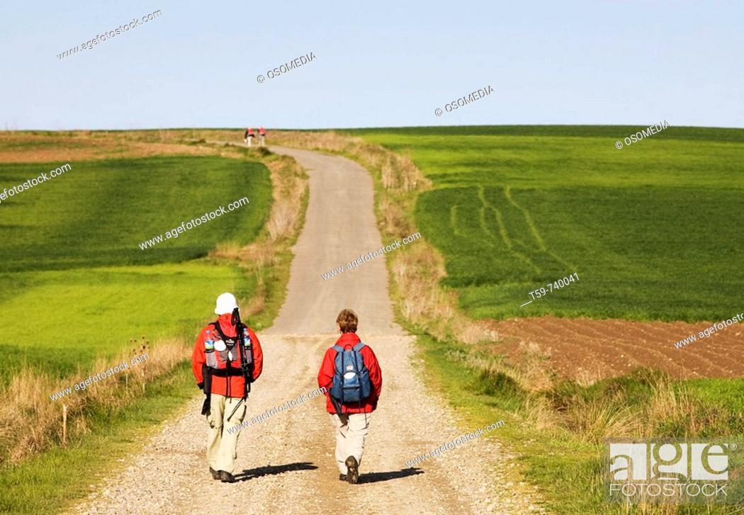 Stock Photo: Pilgrims on the Way of St. James, Santo Domingo de la Calzada. La Rioja, Spain.