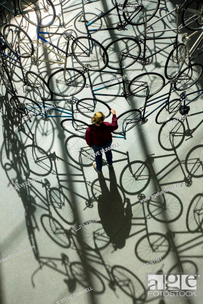 Stock Photo: 'Forever' (2003, Ai Weiwei's bicycle sculpture), MFA, Museum of Fine Arts, Boston, Massachusetts, USA.