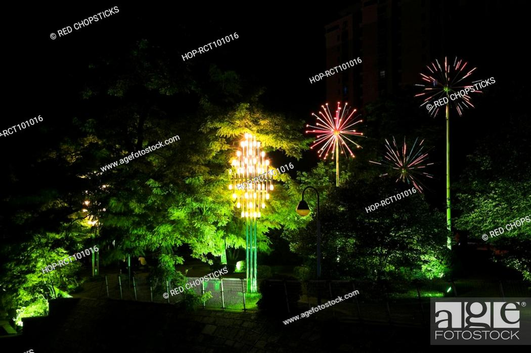 Stock Photo: Trees decorated with electric lights, Hefei, Anhui Province, China.