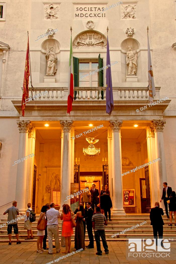 Stock Photo: Fenice Theatre, facade outside, evening, Venice, Venetia, Italy.